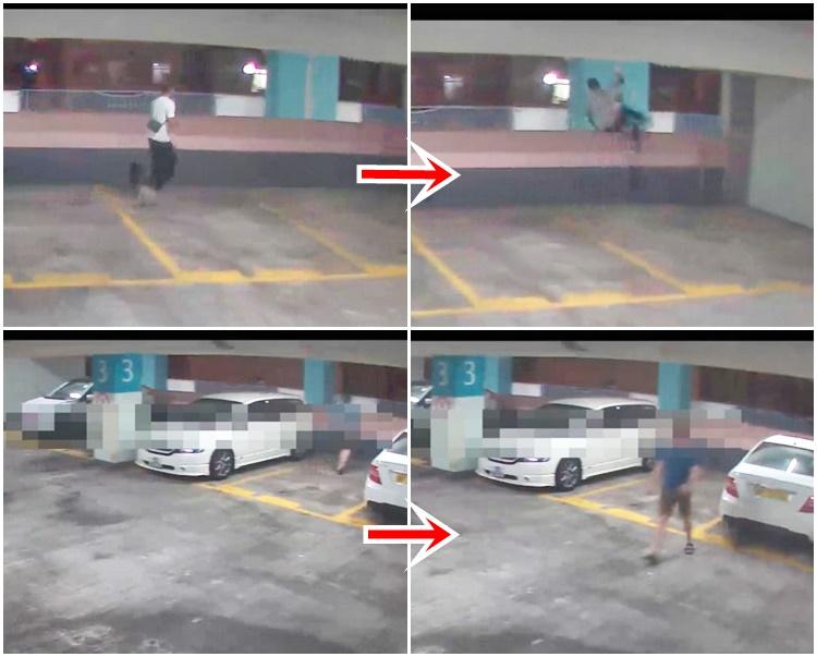領展昨晚發放的停車場3樓片段,見到另外兩名男子在矮牆活動。領展天眼截圖