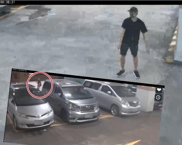 今日公布的片段拍到疑似周梓樂行經停車場2樓。