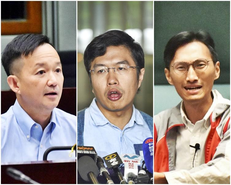 左起:陳志全、區諾軒、朱凱廸。資料圖片