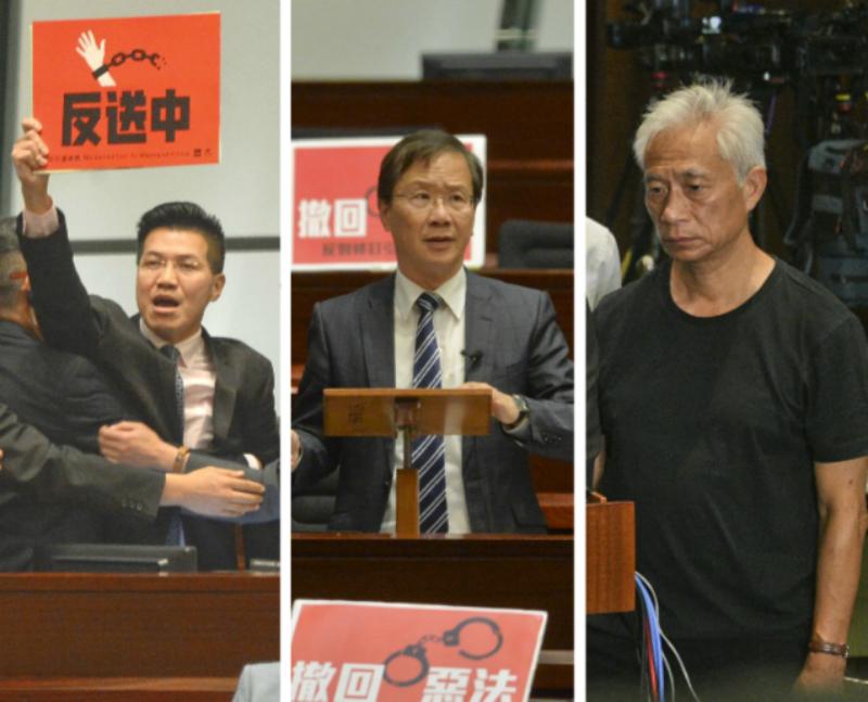 立法會議員(左起)范國威、郭家麒及梁耀忠。資料圖片