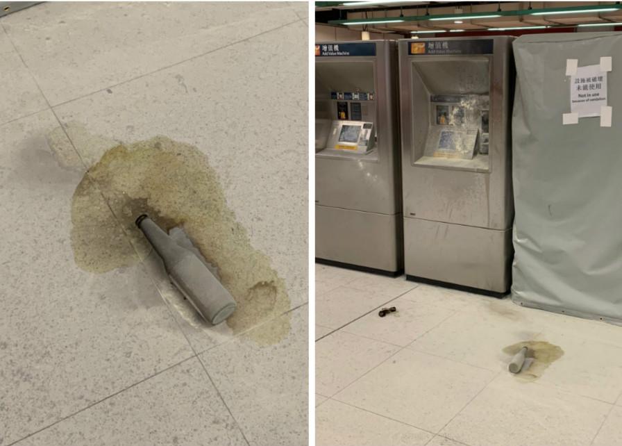 荃灣站大堂遭汽油彈攻擊,波及部分站內設備。港鐵提供