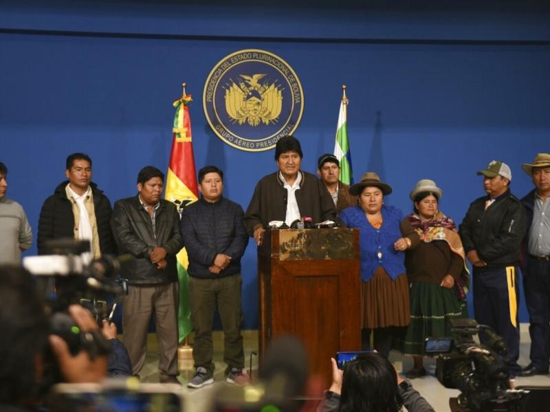 玻利維亞總統莫拉萊斯宣布辭職。AP