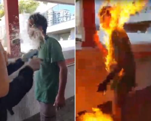 【有片】馬鞍山男子疑被淋易燃液點火 頓成「火人」命危