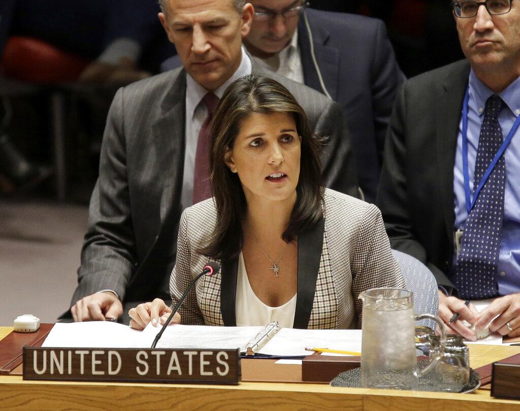 前任美國駐聯合國女大使黑莉(Nikki Haley)。AP