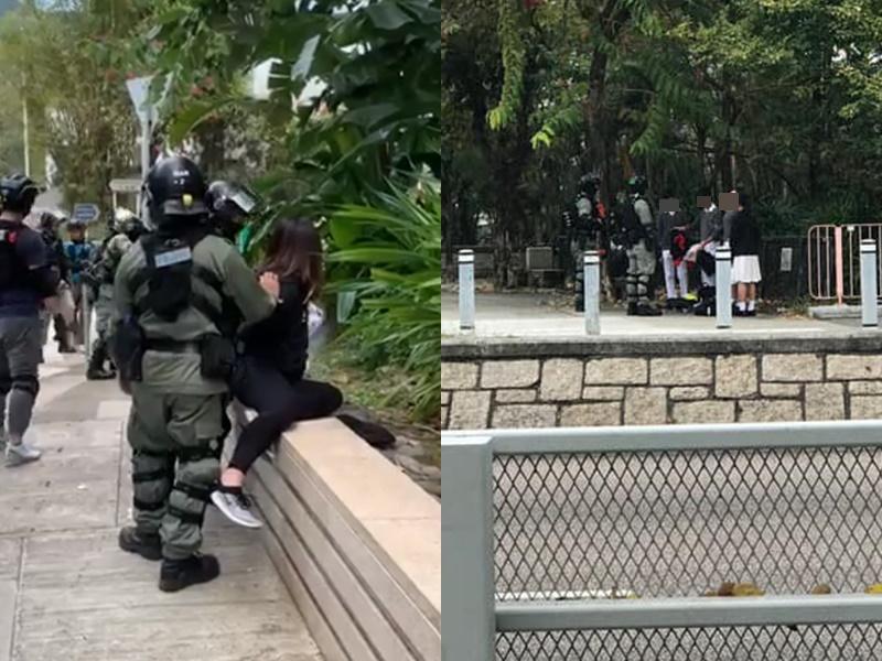 恒大外都有女子被截查;大埔有學生被截查。讀者提供、Cfy Fan圖片