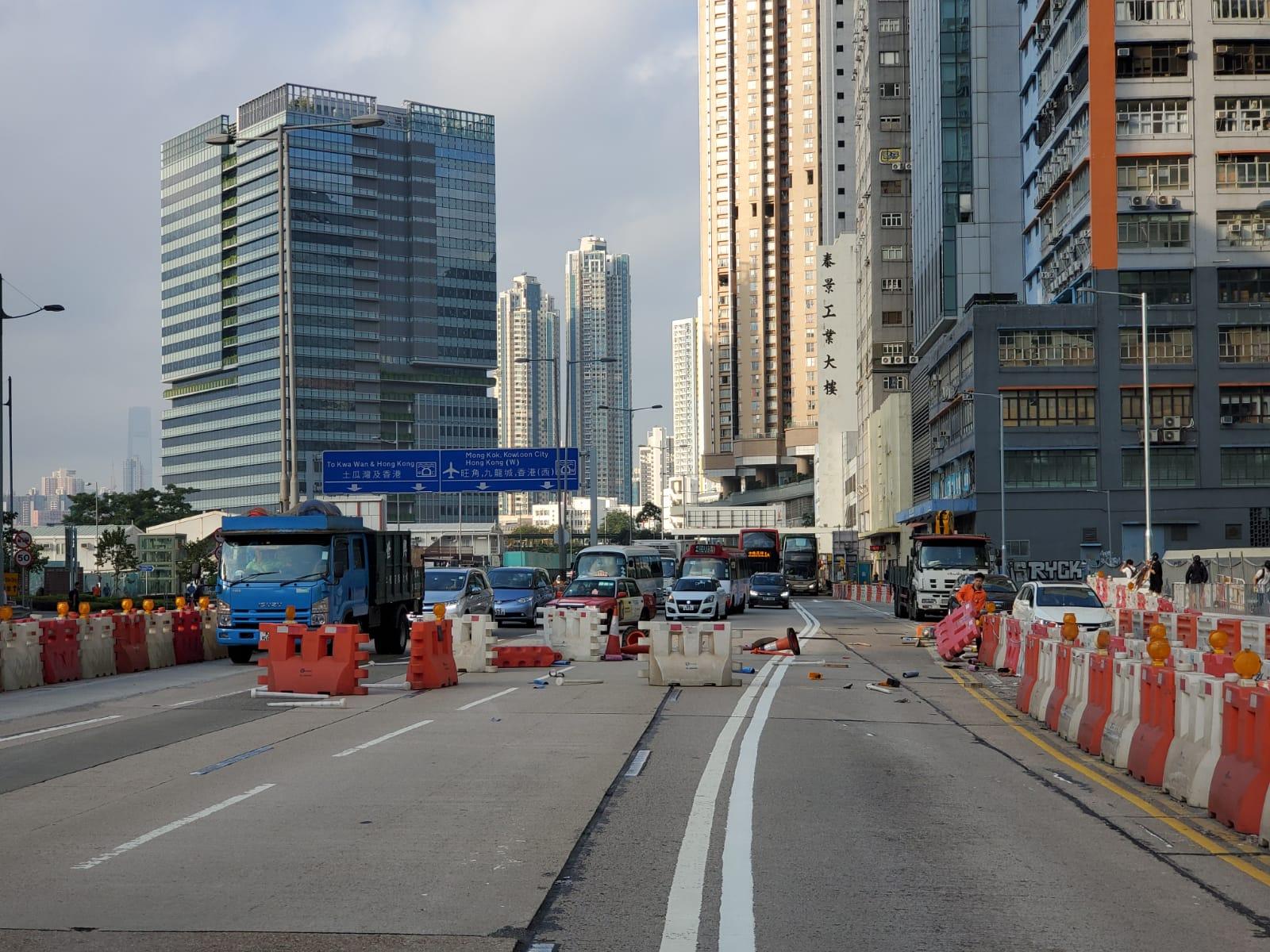 太子道東往觀塘方向有人堵路,交通受阻。