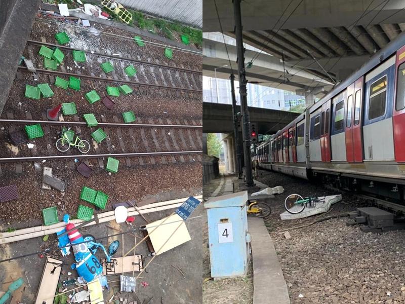 東鐵綫多個露天路段的路軌範圍,均曾被人投擲物件。港鐵提供