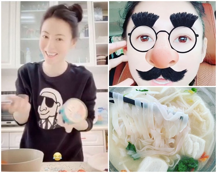 張栢芝愛在社交網分享下廚的相,今日買完餸煮河粉。