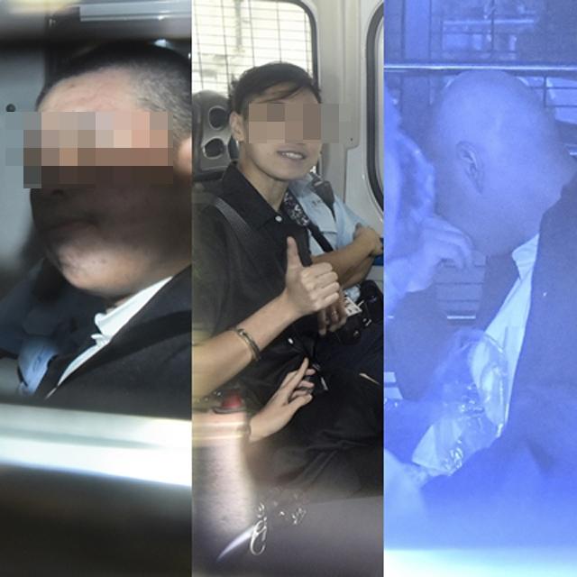被告賴雲龍(左)、畢慧芬(中)及何家樂(右)。 資料圖片
