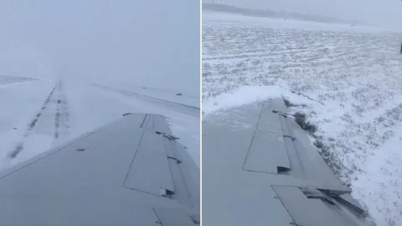 客机降落时冲出跑道机翼着地。(网图)
