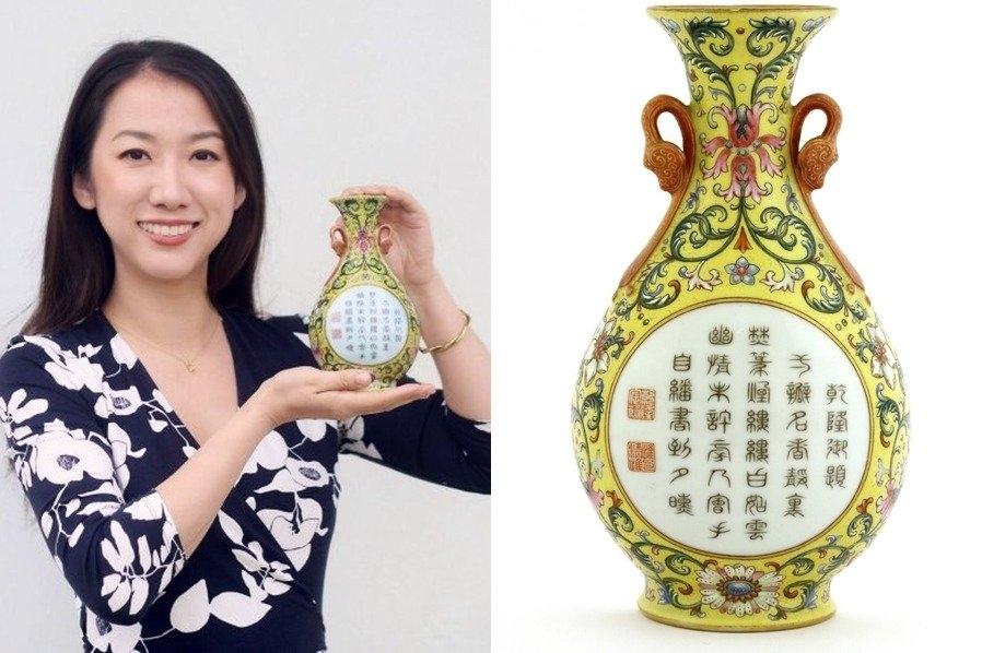 男子以10元買回來的乾隆御用花瓶以48.4萬鎊高價賣出。(網圖)