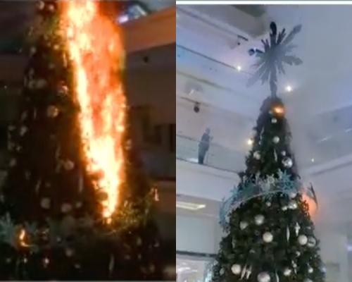 【大三罷】示威者又一城槌仔破壞商場玻璃  焚燒聖誕樹