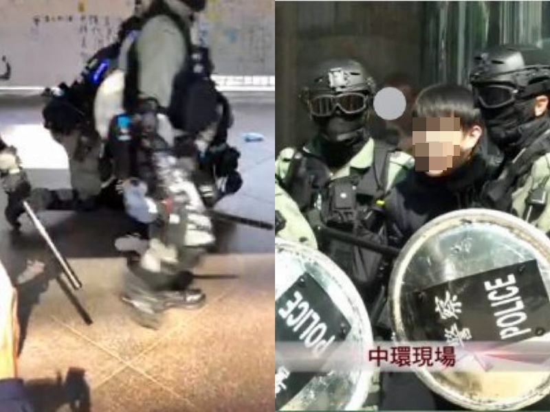 一男一女被捕。網上圖片/有線新聞截圖