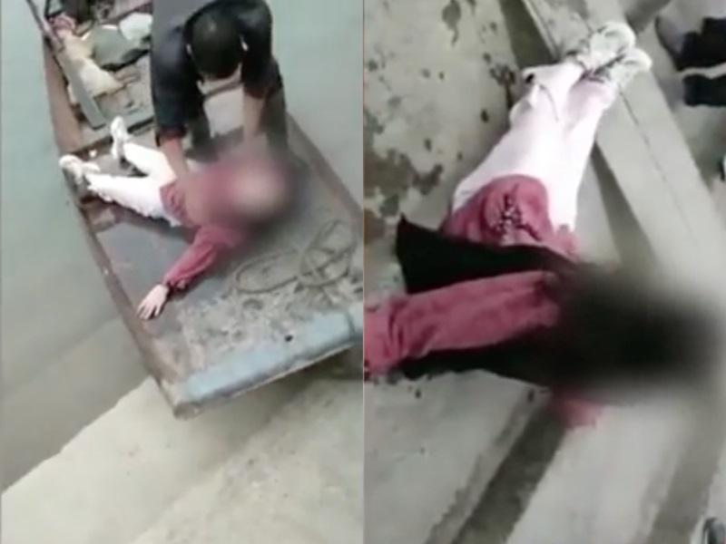 女子被救後坐在地上抖腿撒嬌。影片截圖