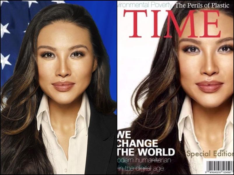 美國國務院韓裔女高官張米娜,被揭偽造《時代》雜誌封面,使自己成為「封面人物」。網圖