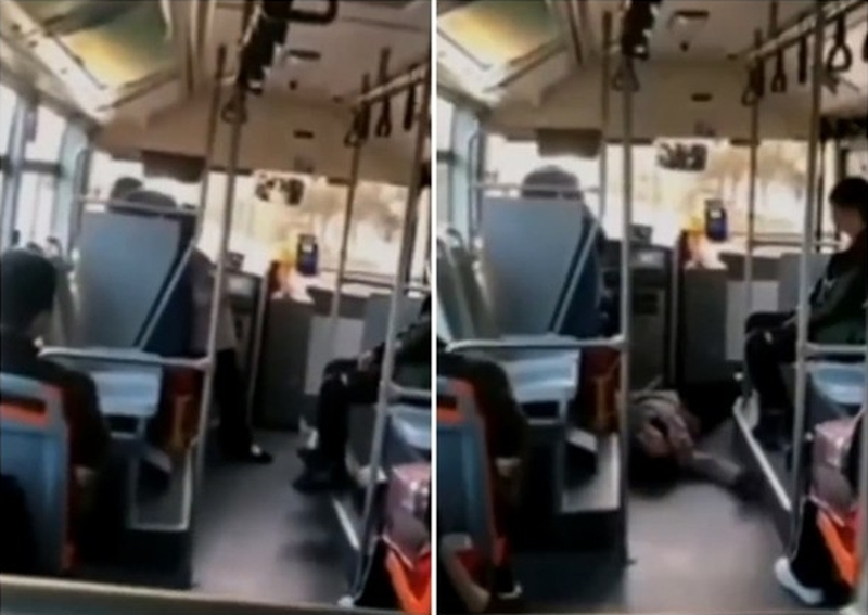河南婦搭巴士只投一毫子被揭穿,馬上演戲倒地。(網圖)