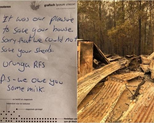 澳洲消防員救火後留字條「欠你牛奶」 屋主:再請你喝啤酒