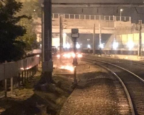 【大三罷】九龍塘站有人投擲汽油彈及闖路軌 東鐵線停駛