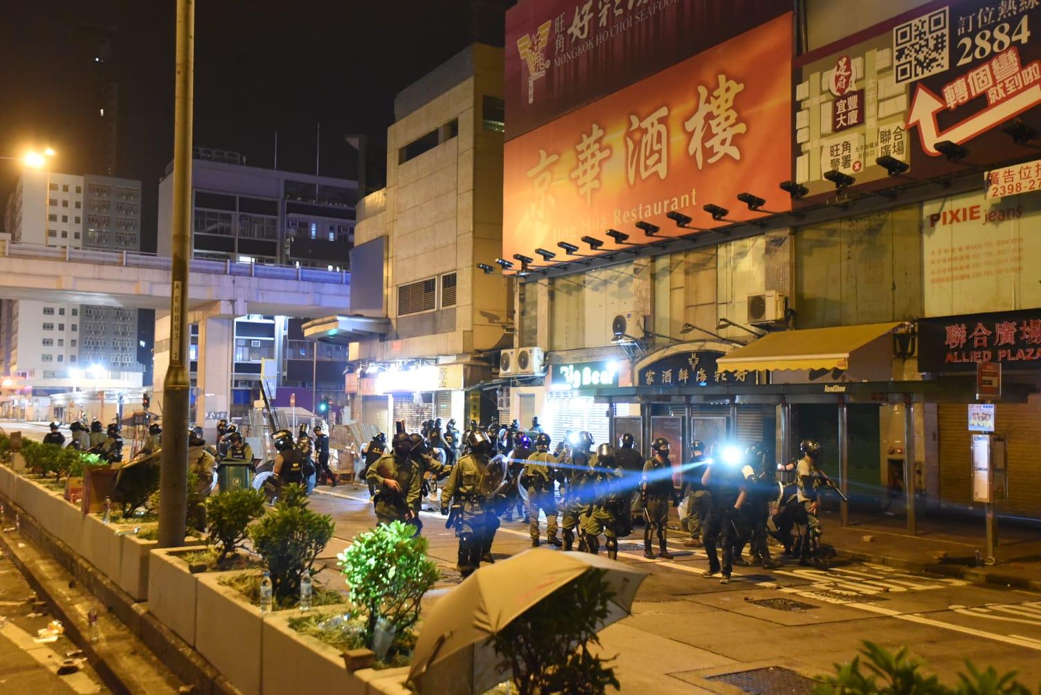 防暴警當日在彌敦道太子道西一帶清場。