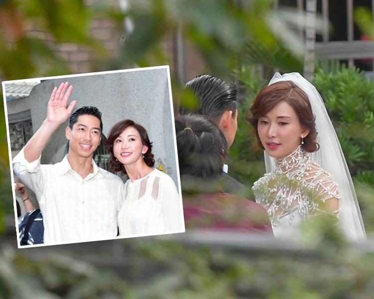 林志玲與老公穿婚紗禮服綵排後,換過便服步出跟傳媒及群眾打招呼。