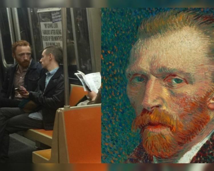 男子在地鐵被捕捉神韻激似著名一代名畫家梵谷。fb
