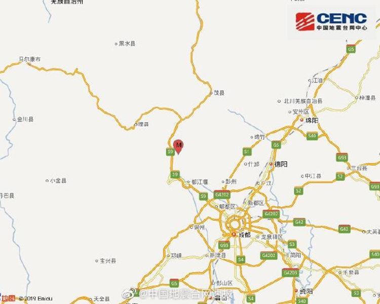 地震發生在阿壩州汶川縣。圖:國家地震台網