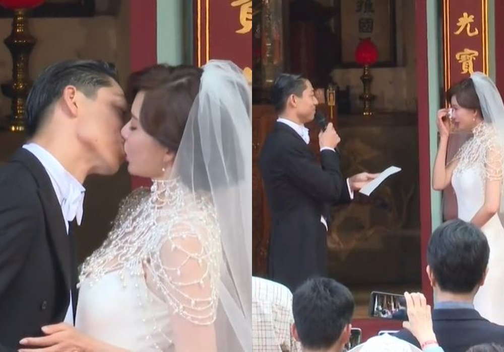 在整個婚禮儀式上,一對新人都很情深及感動。(截圖)