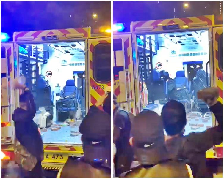 黑衣人向警員投擲石頭、磚塊,及淋灑不明液體。網上片段截圖