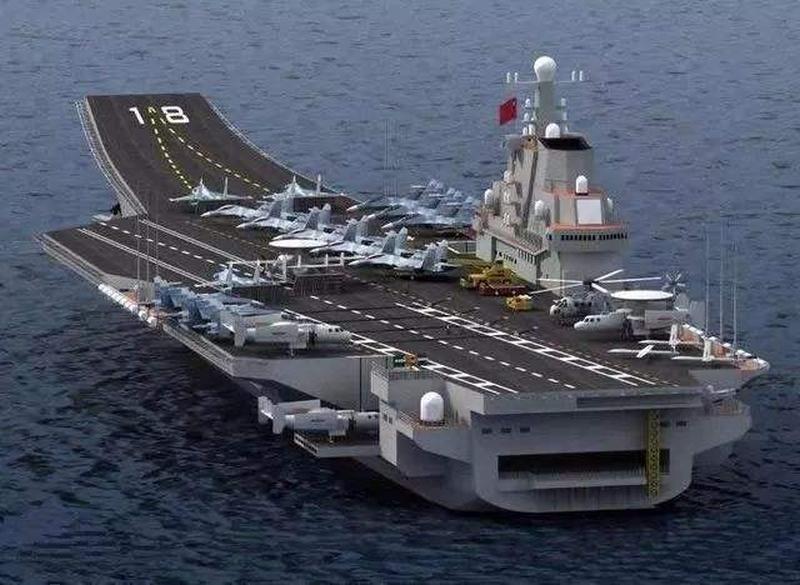中國首艘自製航空母艦編號002號。(資料圖片)