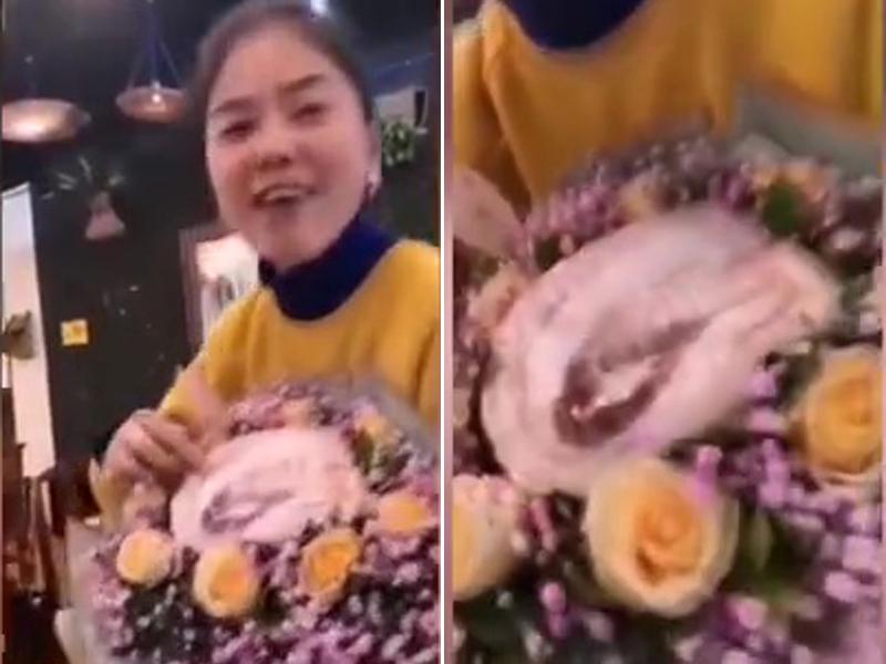 重慶女生日收到豬肉「富貴花」,讚朋友太用心。(網圖)