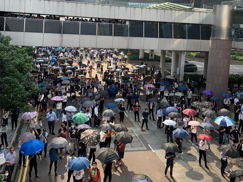 示威者中環集會。
