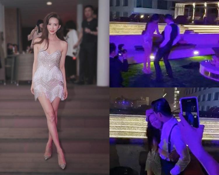 志玲換上吊帶流蘇裙在After Party起舞,High到幫老公剥衫,同老公攬到實。