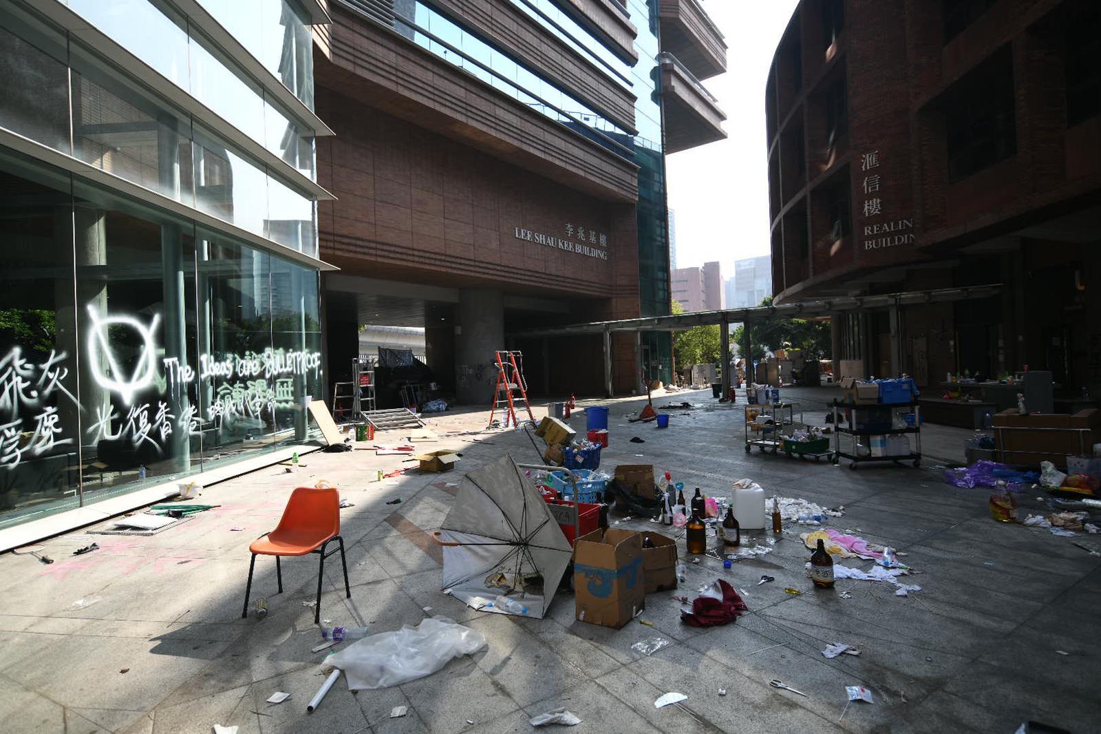 示威者佔據理大校園。資料圖片