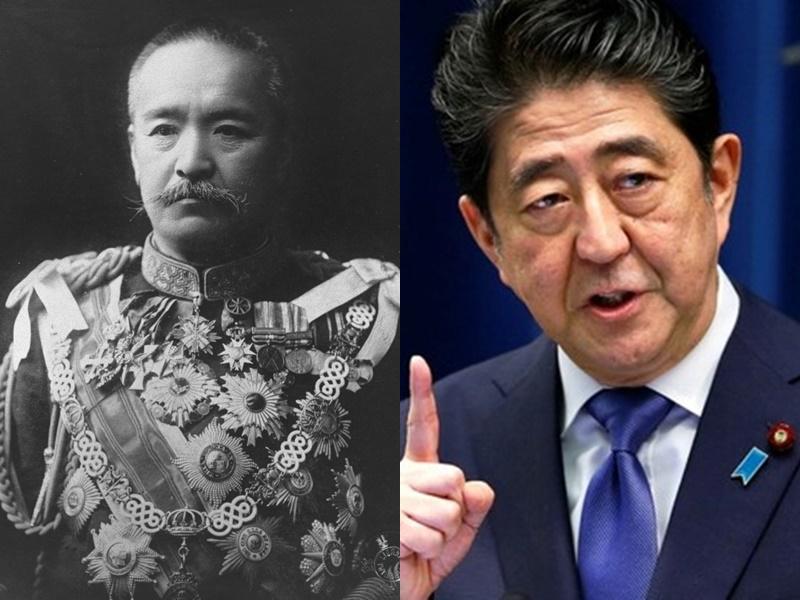 日本首相安倍晉三(右)累積任日數今天與前首相桂太郎看齊,明天將成為在任最長首相。資料圖片