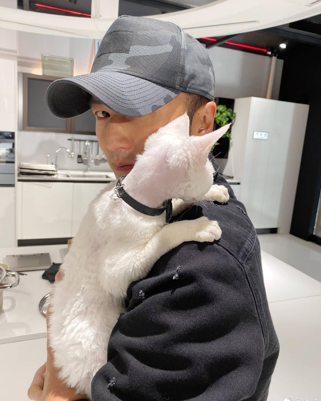 霆鋒抱住愛貓開工唔願放。