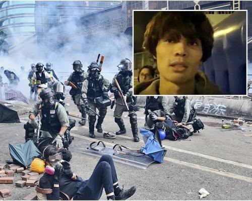 【修例風波】日本男學生獲釋否認參與示威 稱曾遭警方粗暴對待