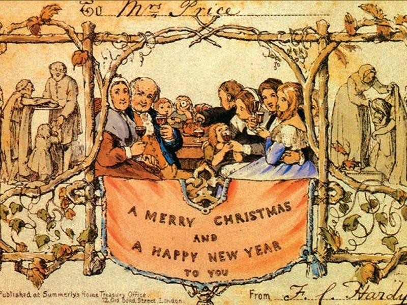 全球首張印刷版聖誕卡。網圖
