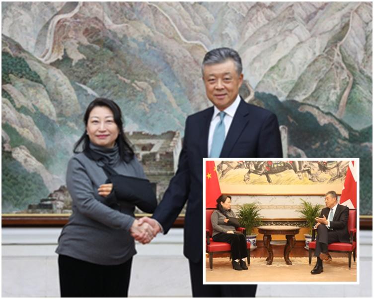 鄭若驊(左)負傷與劉曉明會面。(中國駐英大使館照片)