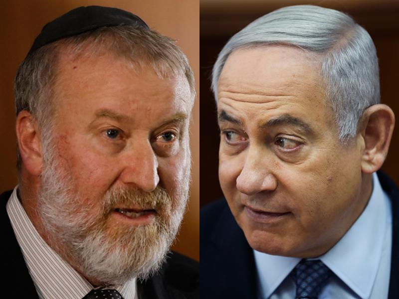 以色列检察总长卜利特  (左)正式起诉内塔尼亚胡(右)贿赂及欺诈等罪名。