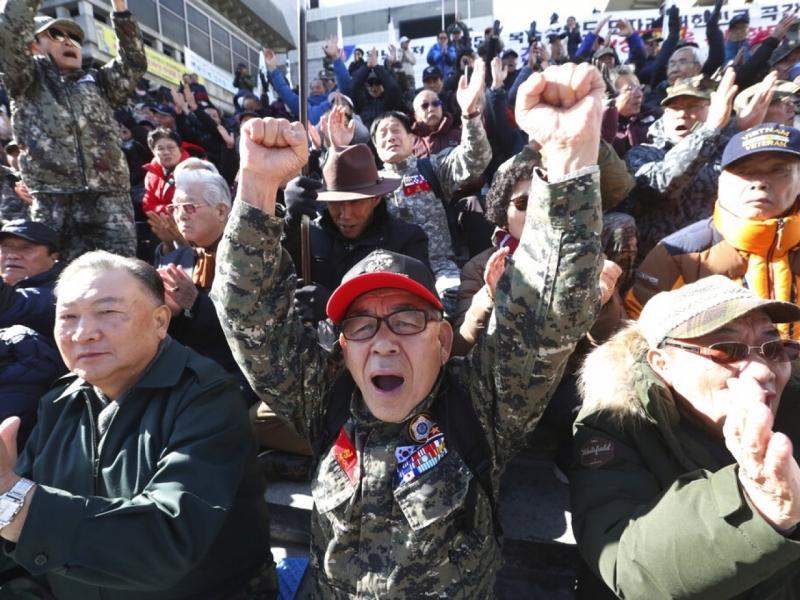 南韓民眾不滿美國要求南韓分擔更多駐軍費。AP