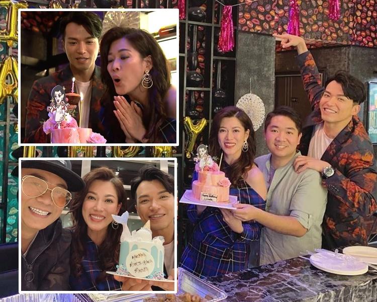 戲裏戲外,大小姐同林淑敏在同一個場景捧著同一個蛋糕慶生。