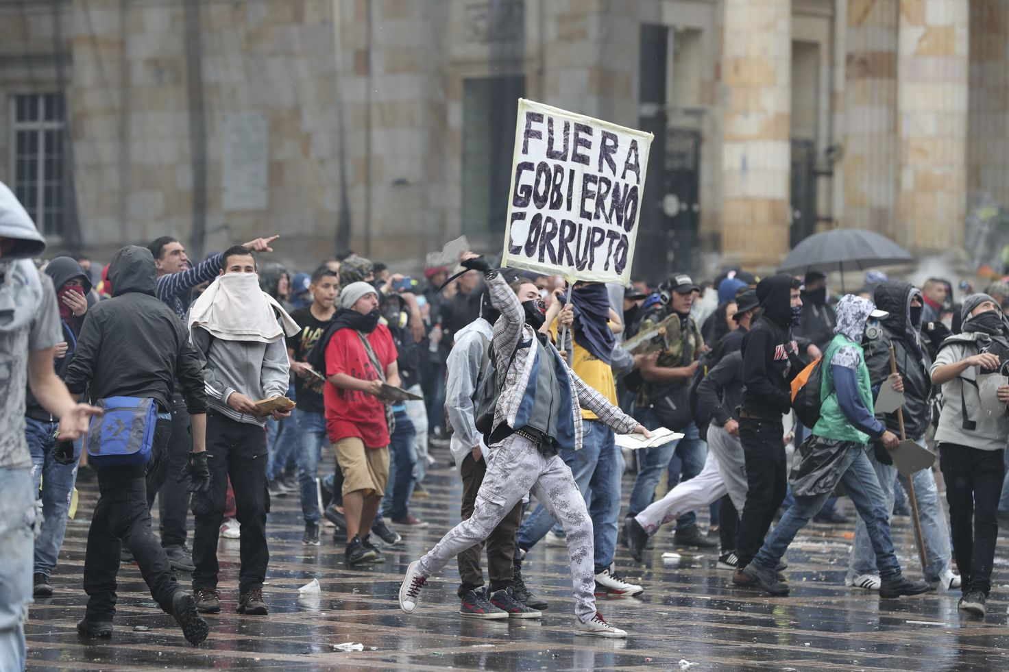 南美洲哥倫比亞反政府組織昨日舉行全國大罷工。AP