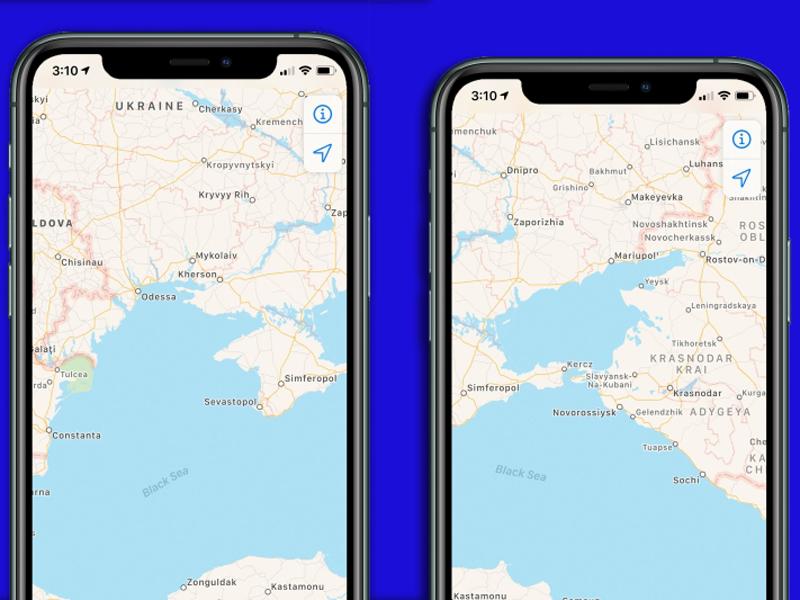 苹果修改地图将克里米亚列入俄罗斯。(网图)