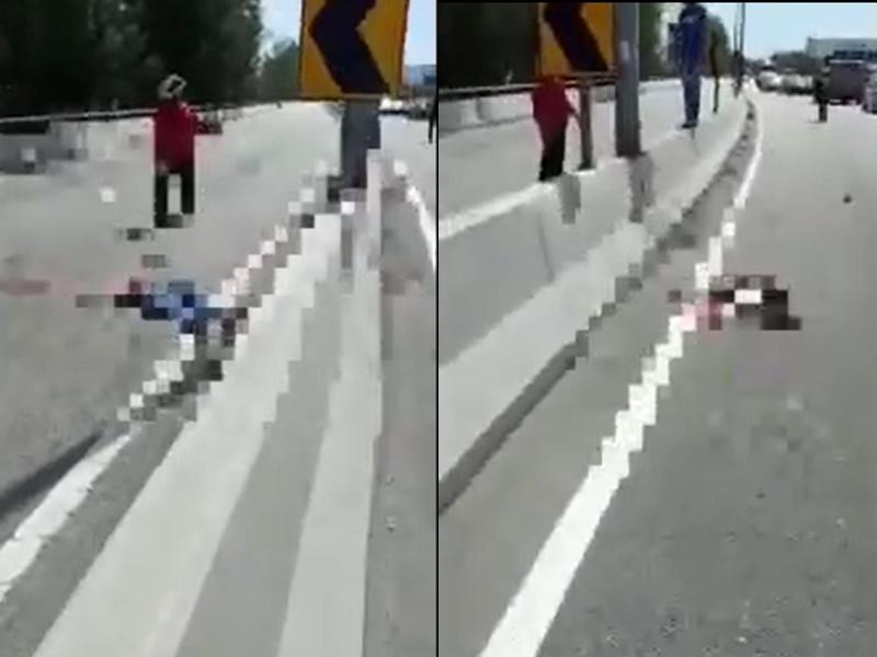 鐵騎撞路牌分屍亡。網上圖片