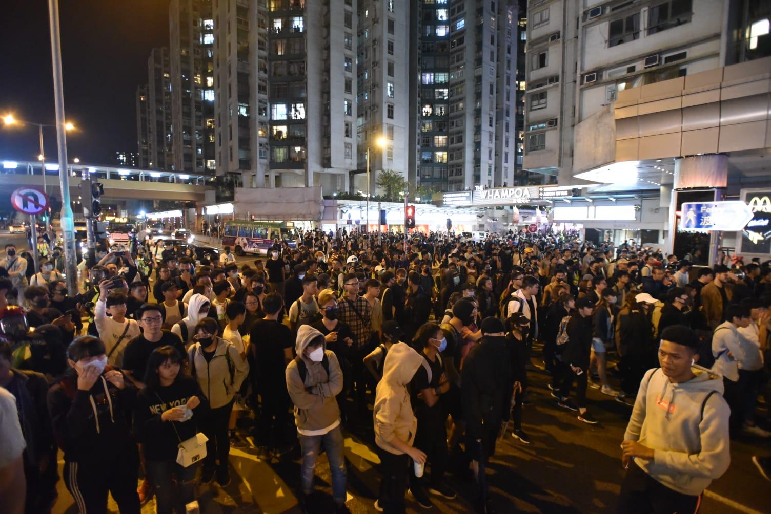 黃埔大批示威者聚集
