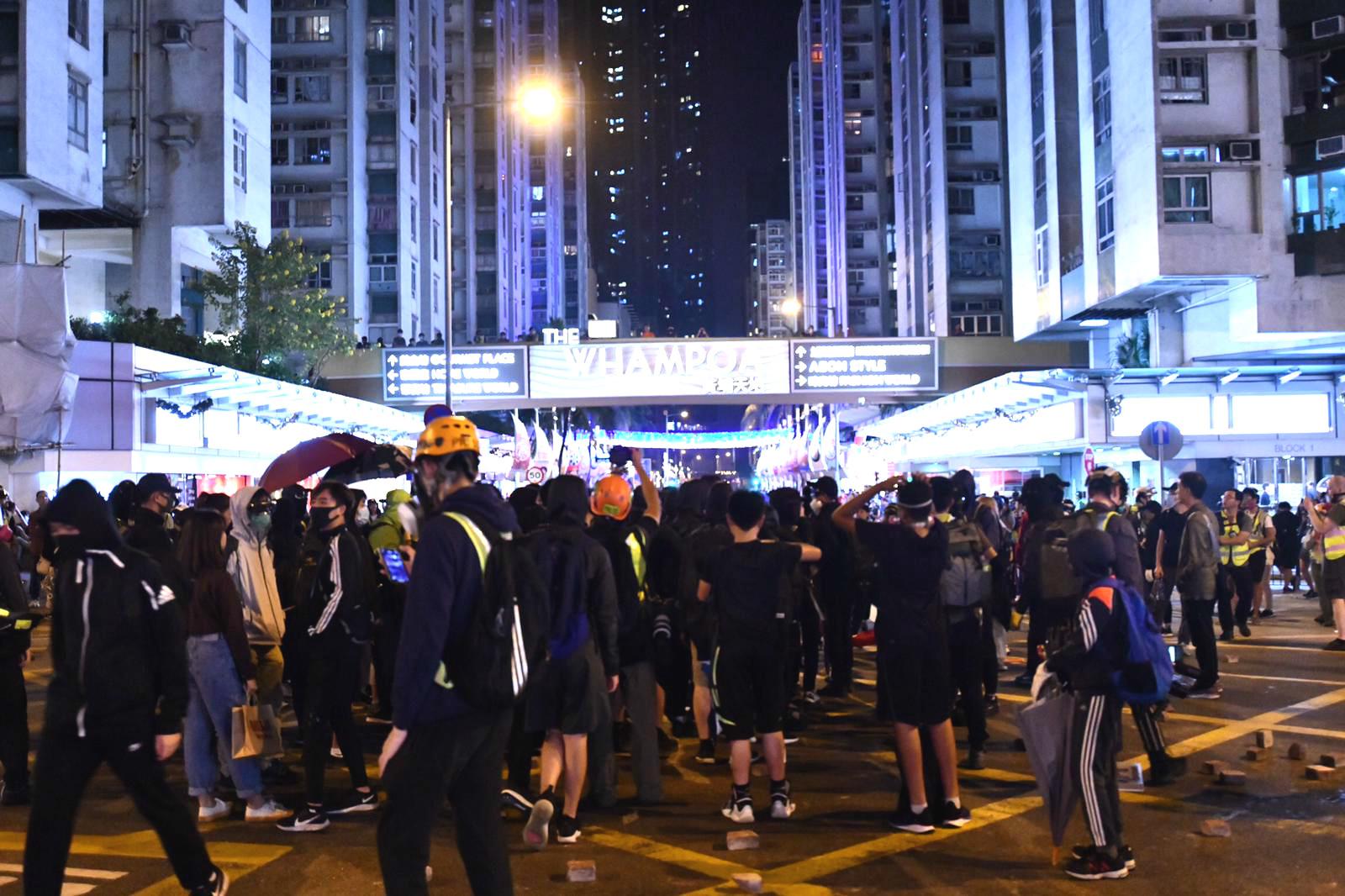黃埔有示威者聚集堵路