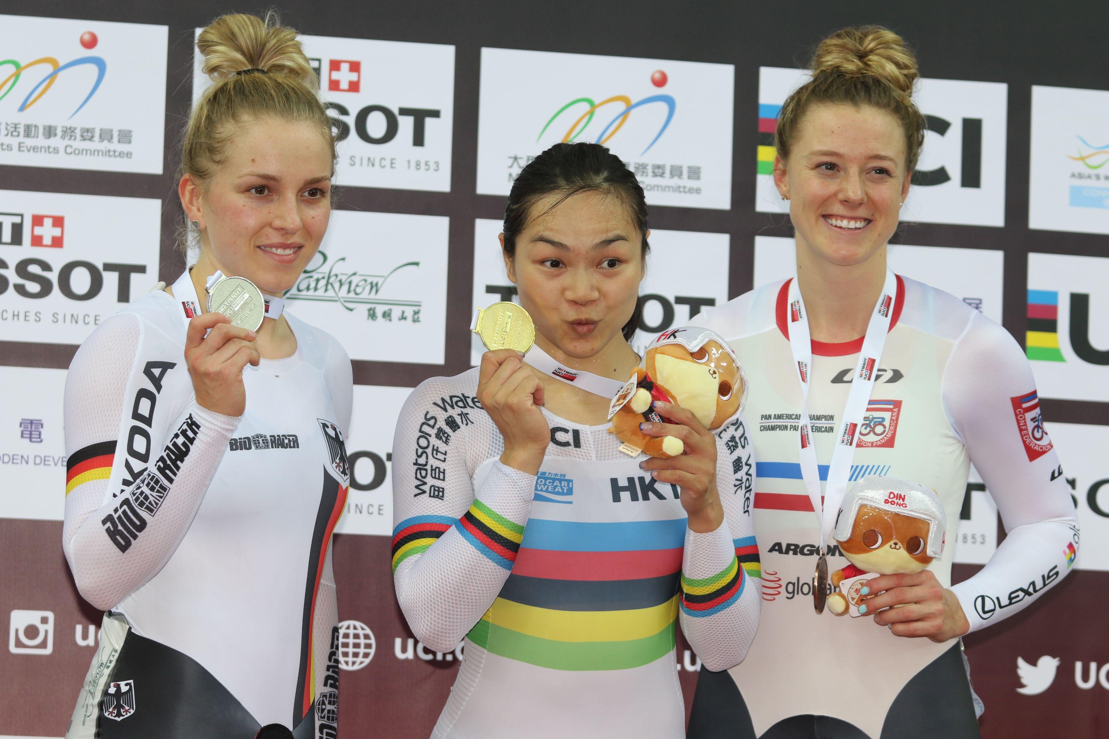 昨日於女子爭先賽奪季軍的加拿大新星米歇爾(右),今年九月打破德國退役名將禾姫保持的200米計時賽世績,或成李慧詩的新勁敵。王嘉豪攝