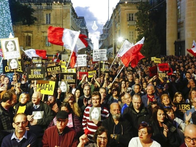 馬爾他首都有示威要求徹查女記者遇害及要求總理辭職。AP