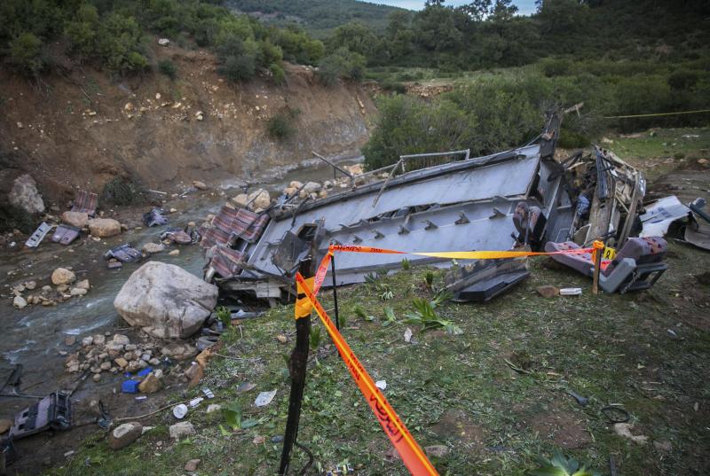 巴士坠崖,车头全毁、遗体散布河床。