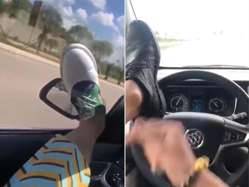 男子最少兩次炫耀用腳開車,更在網上炫耀。(網圖)